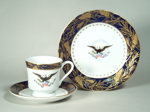 Presidential Cup and Saucer Benjamin Harrison