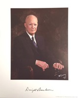 Eisenhower Presidential Color Photo with signature