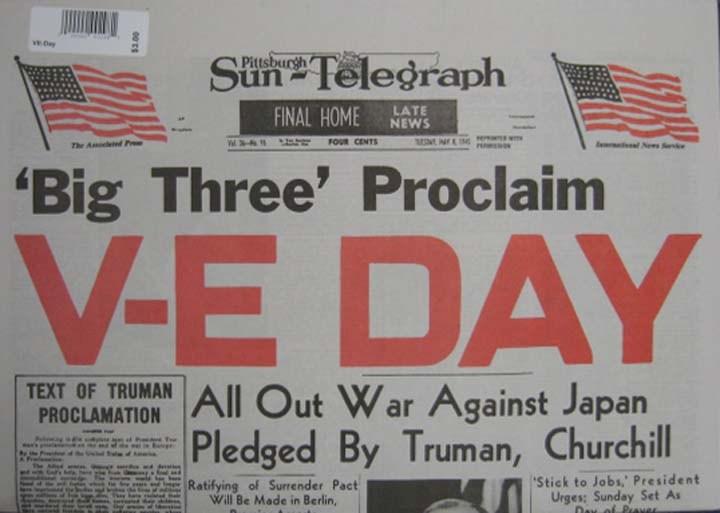 """Reproduction Newspaper-  """"V-E Day"""""""
