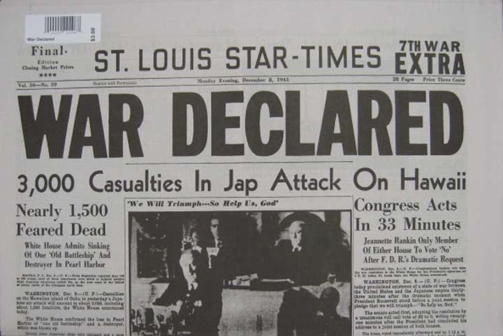 "Reproduction Newspaper - ""War Declared"""