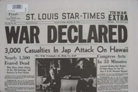 "Reproduction Newspaper - ""War Declared"""