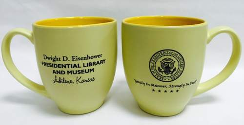 "Yellow Mug with Presidential Seal and ""Gently In Manner, Strongly In Deed"""