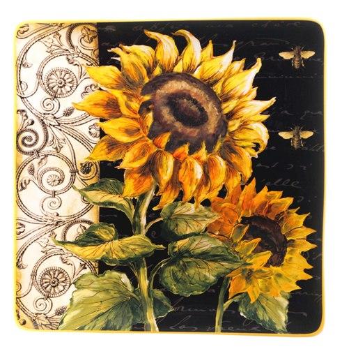 Sq Platter 14.5 in, French Sunflower