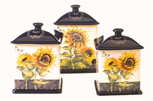 French Sunflowers 3 pc. Canister Set