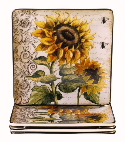 "French Sunflowers 10"" Square Dinner Plate"