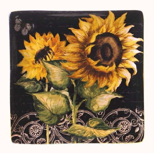 """French Sunflowers Square Platter 12.5"""""""