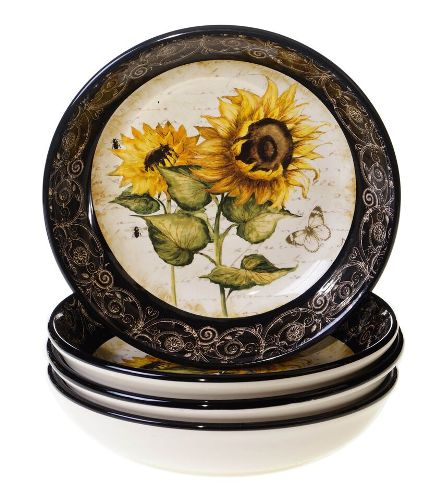 "French Sunflowers Soup/Pasta Bowl 9.25"" x 2"""