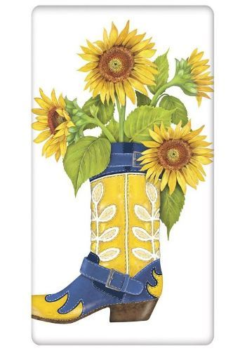 Boot Sunflowers Towel