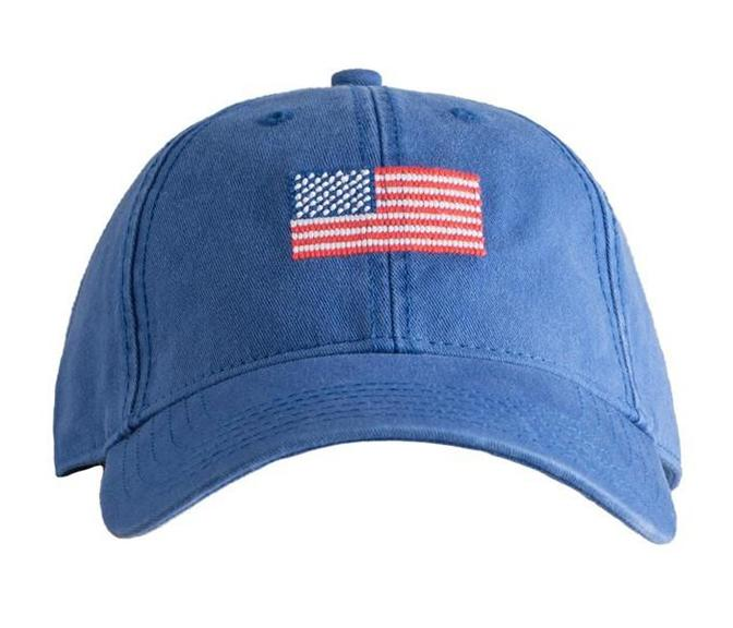 Embroidered Flag Cap, Blue