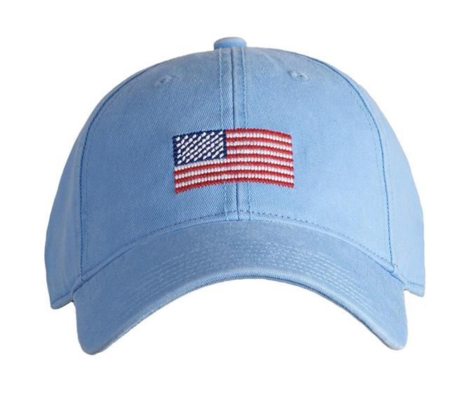 Embroidered Flag Cap, Light Blue
