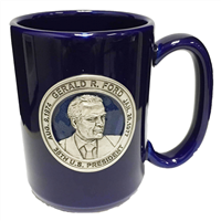 Mug, Blue Ceramic, Gerald R. Ford Applique, Cobalt Blue