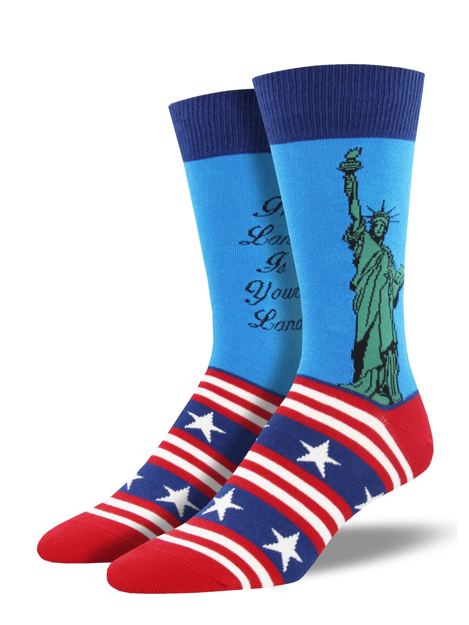 Lady Liberty Socks, Men's, Blue