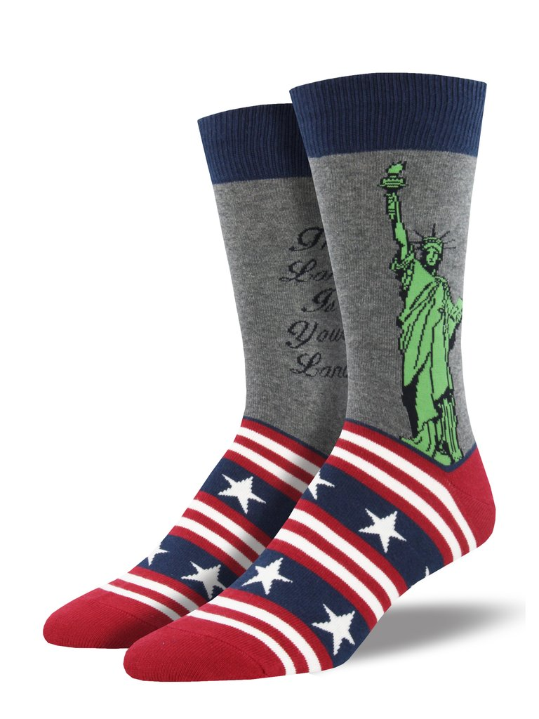 Lady Liberty Socks, Men's, Gray