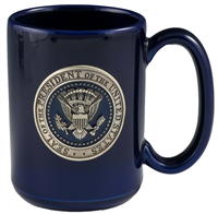 Mug, Blue Ceramic, Presidential Seal on Blue Enamel, 15 oz