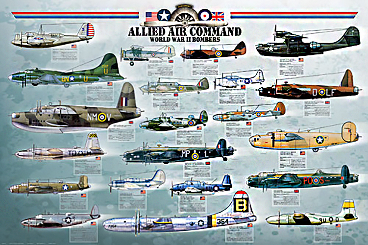 """Allied Air Command BOMBERS Poster 36""""x24"""""""