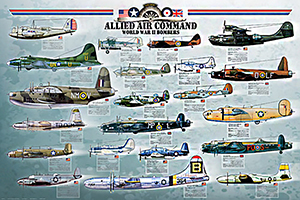"Allied Air Command BOMBERS Poster 36""x24"""