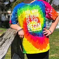 "Kids Tie Dye ""Begin"" Quote Tee"