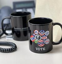 Campaign Buttons Mug BLK