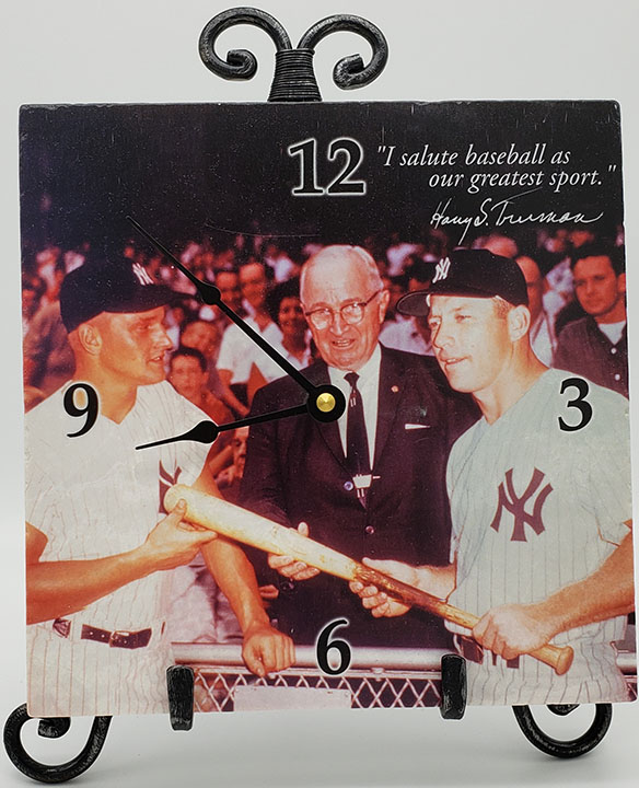 "Baseball tile 8"" Clock w/easel"