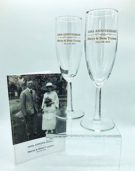 Harry & Bess 100th Wedding Anniversary Champagne Glass