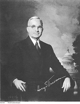 Black & white photo of Harry Truman's official portrait